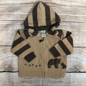 GYMBOREE Zip Up Hooded Bear Sweater 12 - 18 m